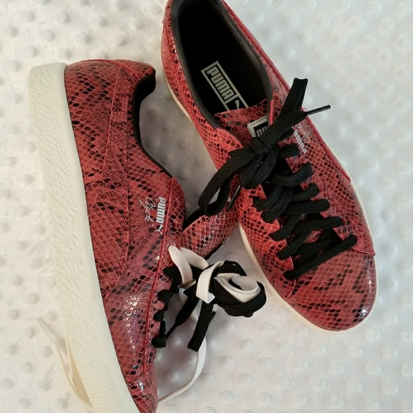 brand new 98ed1 2b187 NWOB PUMA Clyde Red Snake Leather Sneaker sz 7.5